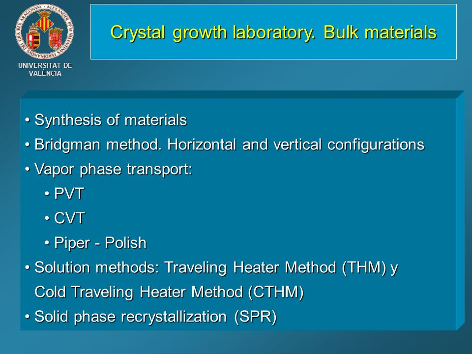 Crystal growth laboratory. Bulk materials