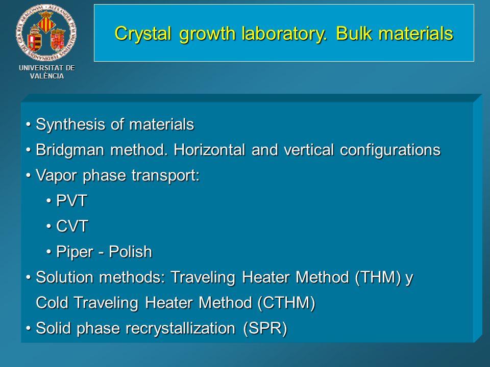 Crystal growth laboratory. Bulk materials