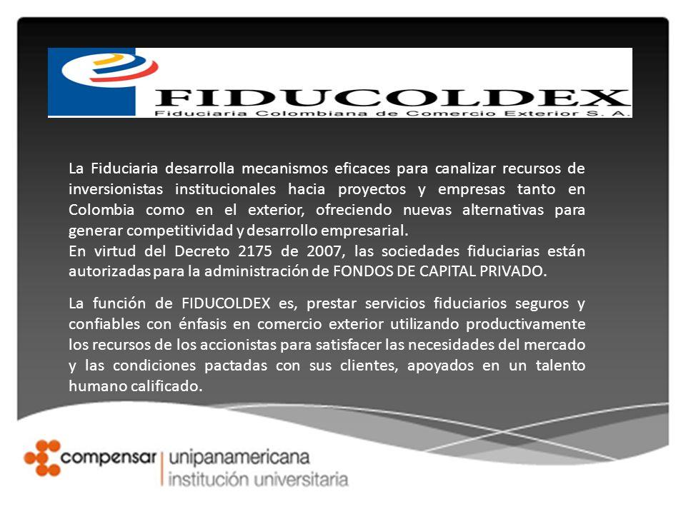 La Fiduciaria desarrolla mecanismos eficaces para canalizar recursos de inversionistas institucionales hacia proyectos y empresas tanto en Colombia como en el exterior, ofreciendo nuevas alternativas para generar competitividad y desarrollo empresarial.