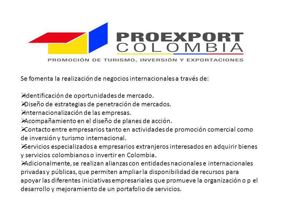 Se fomenta la realización de negocios internacionales a través de: