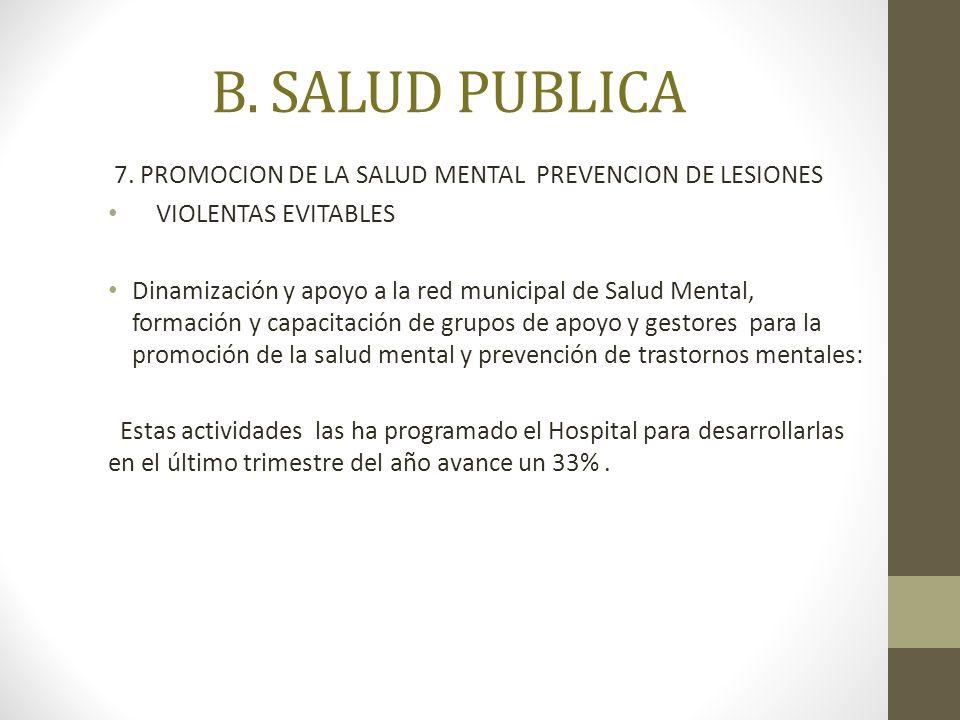 B. SALUD PUBLICA 7. PROMOCION DE LA SALUD MENTAL PREVENCION DE LESIONES. VIOLENTAS EVITABLES.
