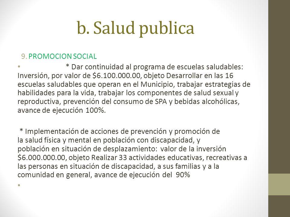 b. Salud publica PROMOCION SOCIAL