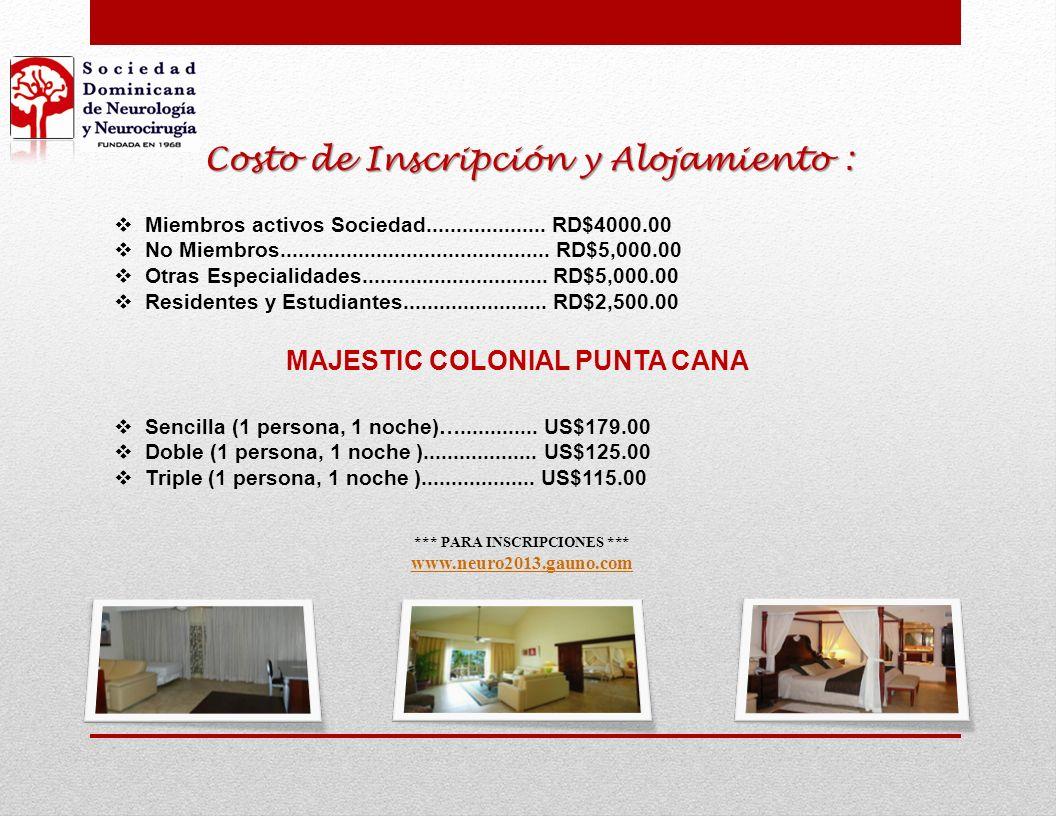 Costo de Inscripción y Alojamiento :
