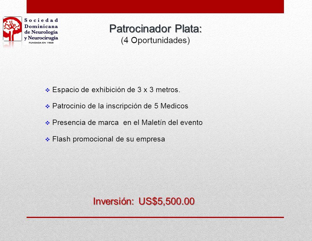 Patrocinador Plata: Inversión: US$5,500.00 (4 Oportunidades)