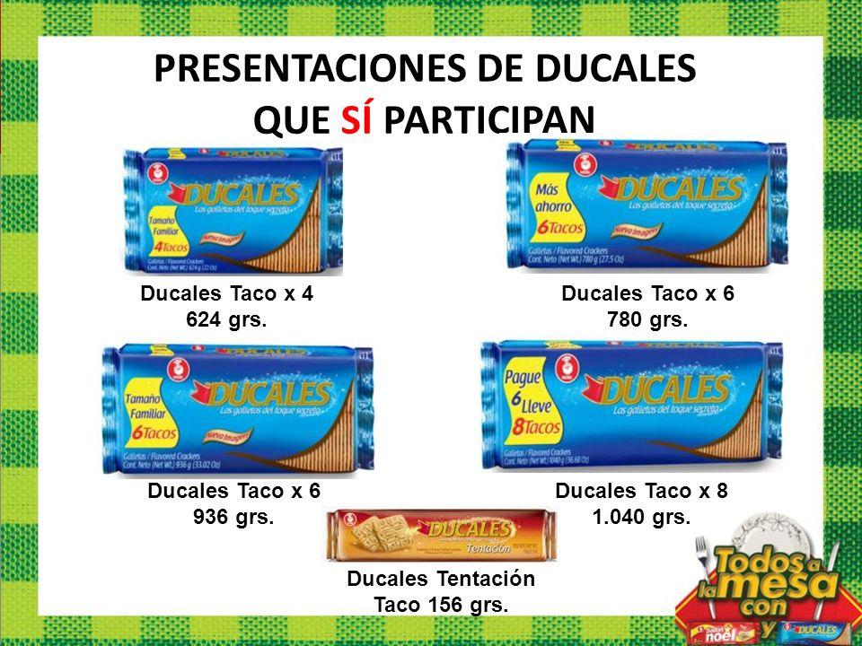 PRESENTACIONES DE DUCALES QUE SÍ PARTICIPAN