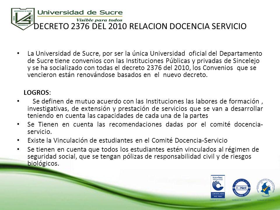 DECRETO 2376 DEL 2010 RELACION DOCENCIA SERVICIO