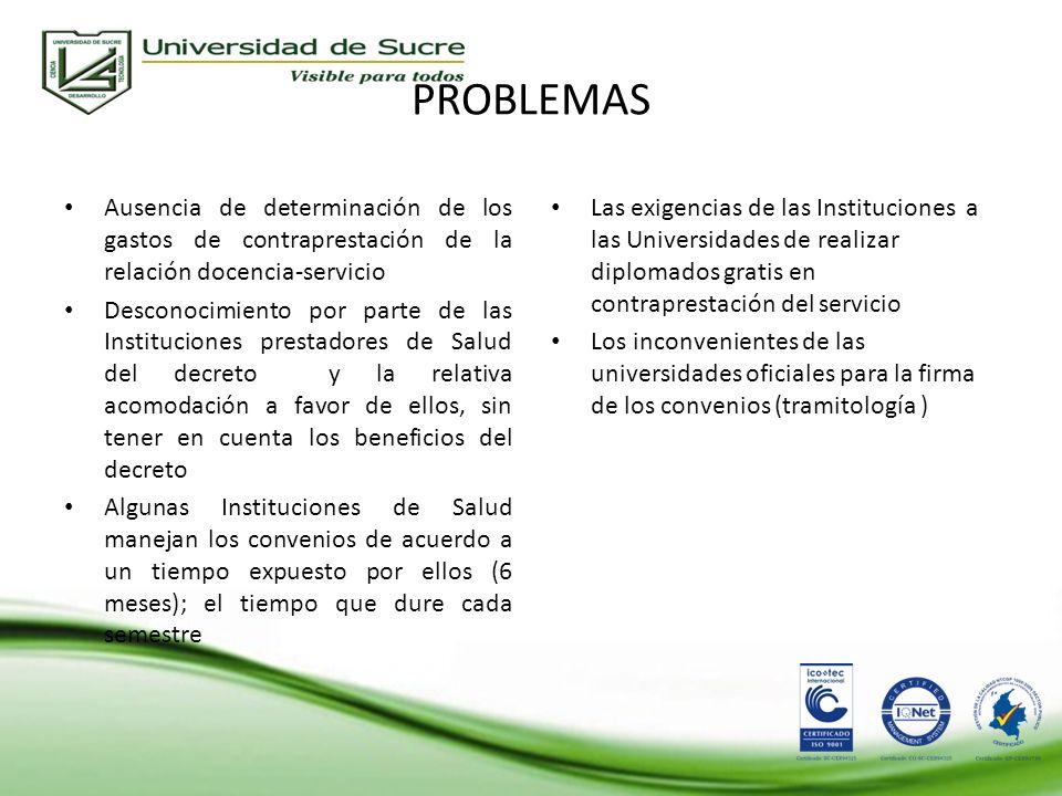 PROBLEMAS Ausencia de determinación de los gastos de contraprestación de la relación docencia-servicio.