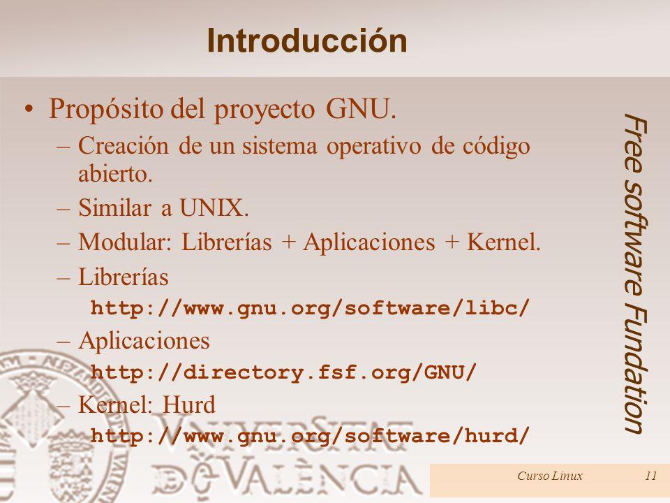 Introducción Propósito del proyecto GNU. Free software Fundation