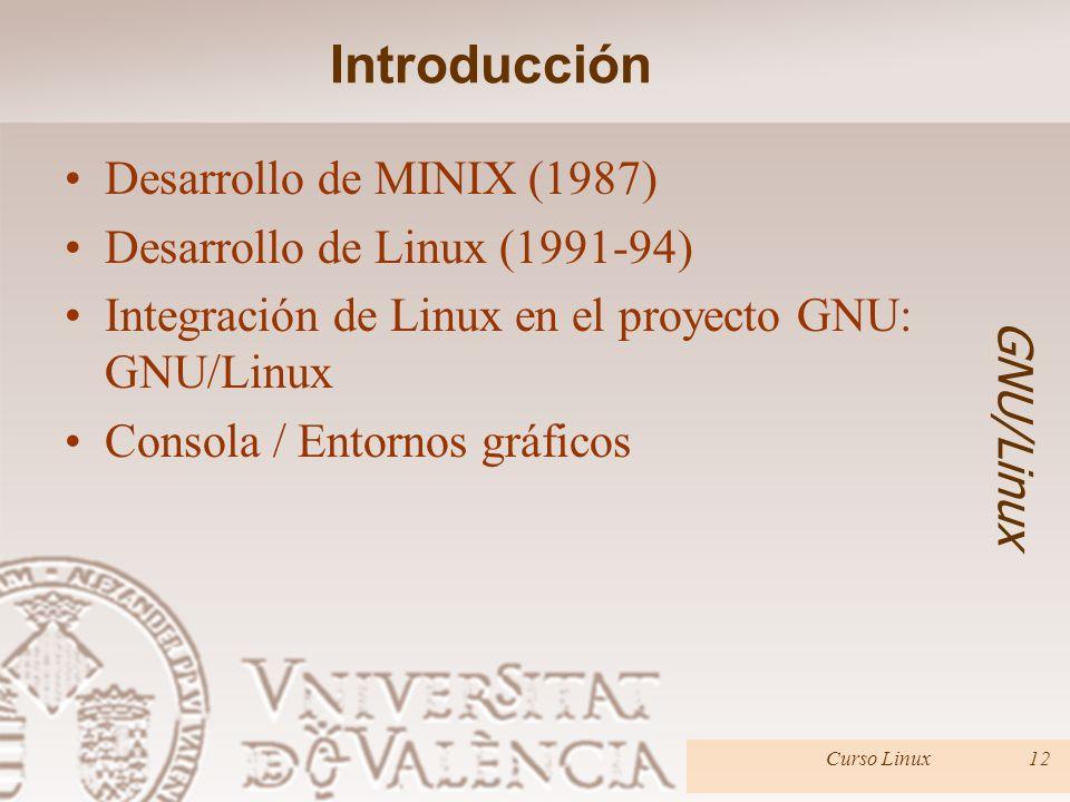 Introducción Desarrollo de MINIX (1987) Desarrollo de Linux (1991-94)