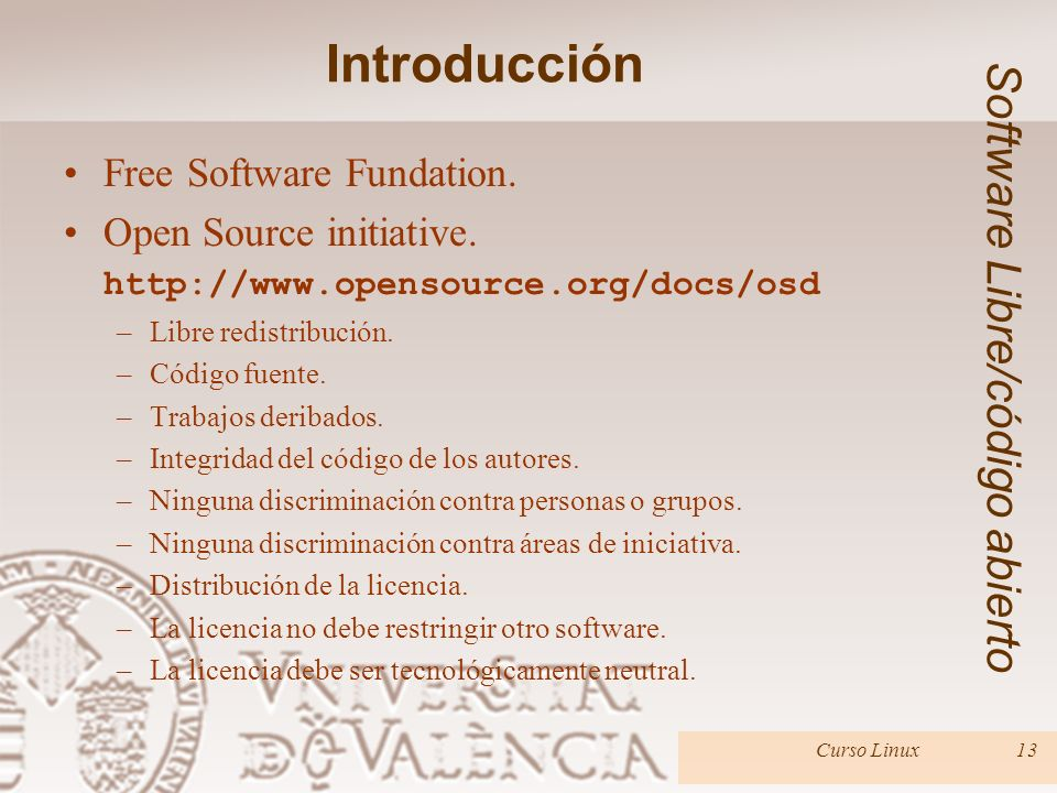 Introducción Software Libre/código abierto Free Software Fundation.