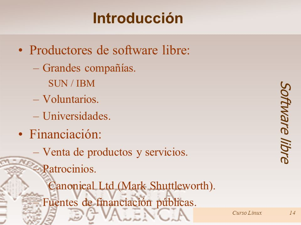 Introducción Productores de software libre: Software libre