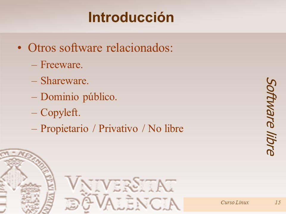 Introducción Otros software relacionados: Software libre Freeware.
