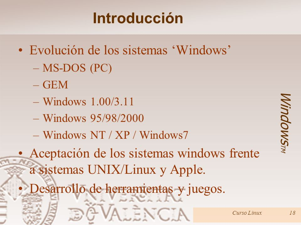 Introducción Evolución de los sistemas 'Windows' WindowsTM