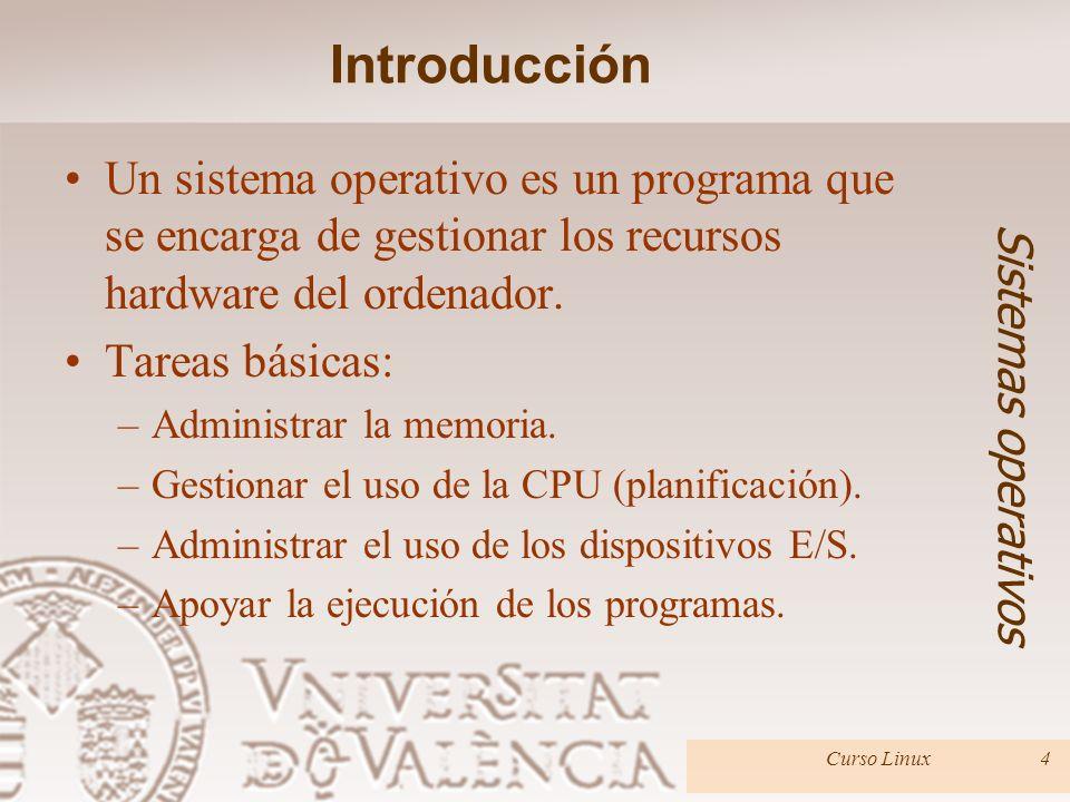 Introducción Un sistema operativo es un programa que se encarga de gestionar los recursos hardware del ordenador.