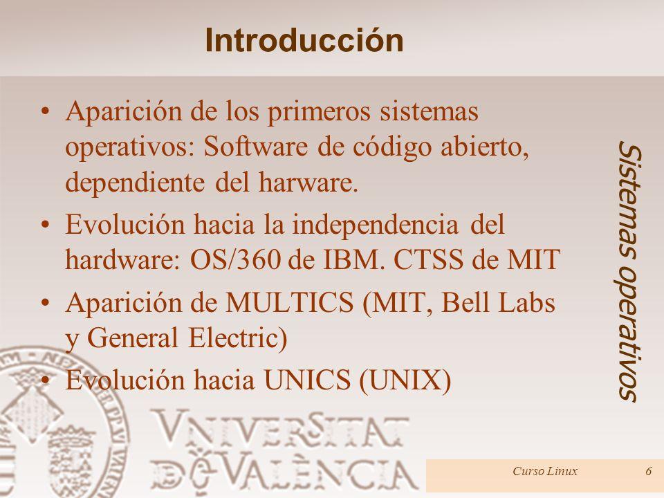 Introducción Aparición de los primeros sistemas operativos: Software de código abierto, dependiente del harware.