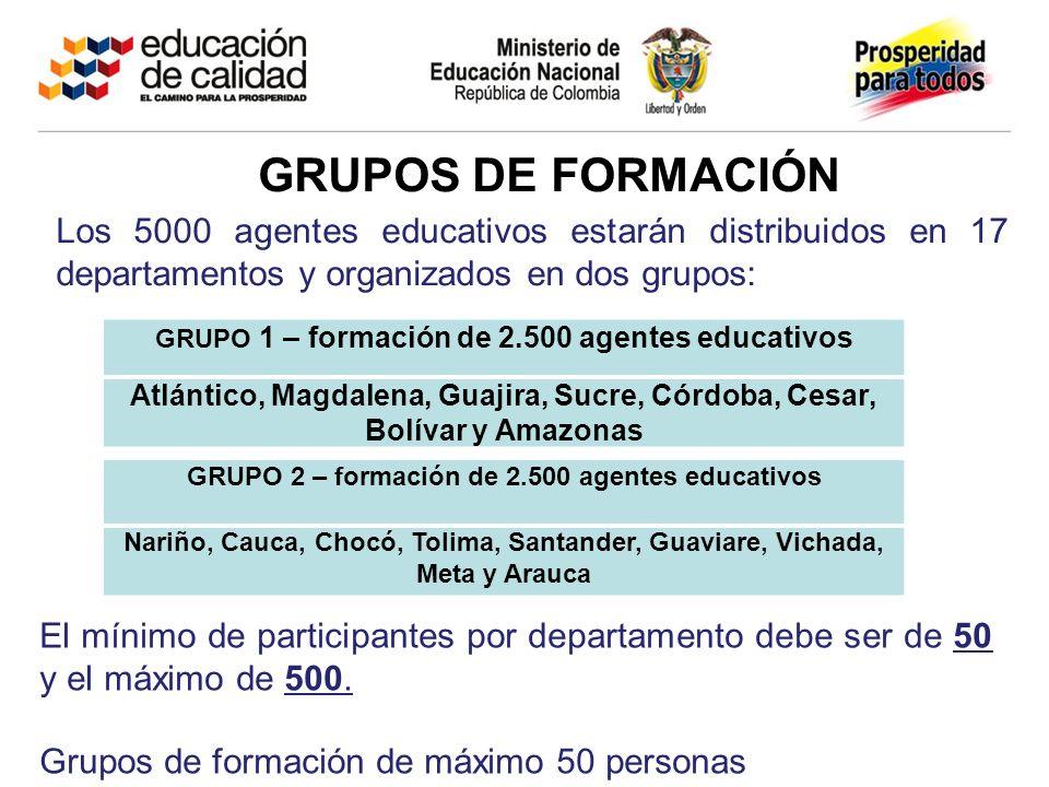 GRUPOS DE FORMACIÓN Los 5000 agentes educativos estarán distribuidos en 17 departamentos y organizados en dos grupos: