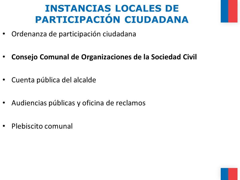 INSTANCIAS LOCALES DE PARTICIPACIÓN CIUDADANA
