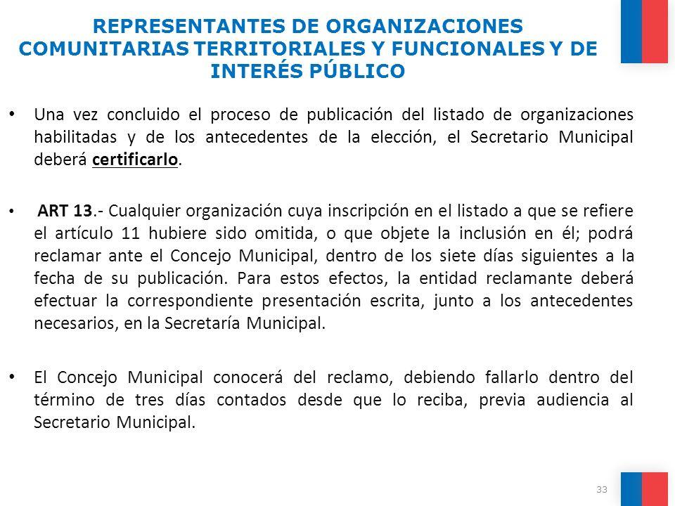 REPRESENTANTES DE ORGANIZACIONES COMUNITARIAS TERRITORIALES Y FUNCIONALES Y DE INTERÉS PÚBLICO