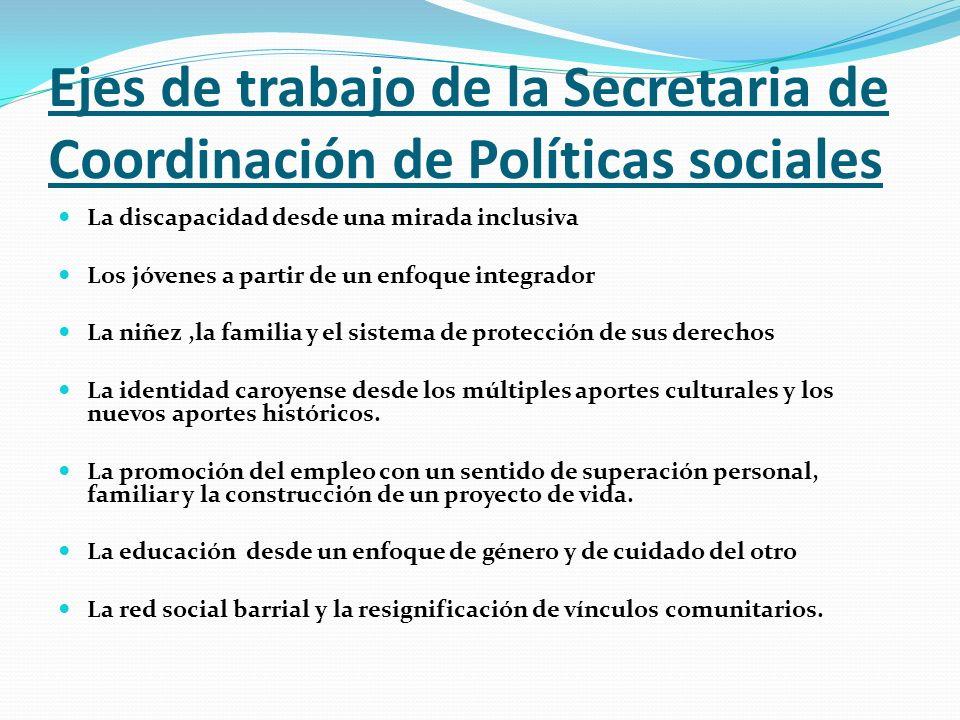 Ejes de trabajo de la Secretaria de Coordinación de Políticas sociales
