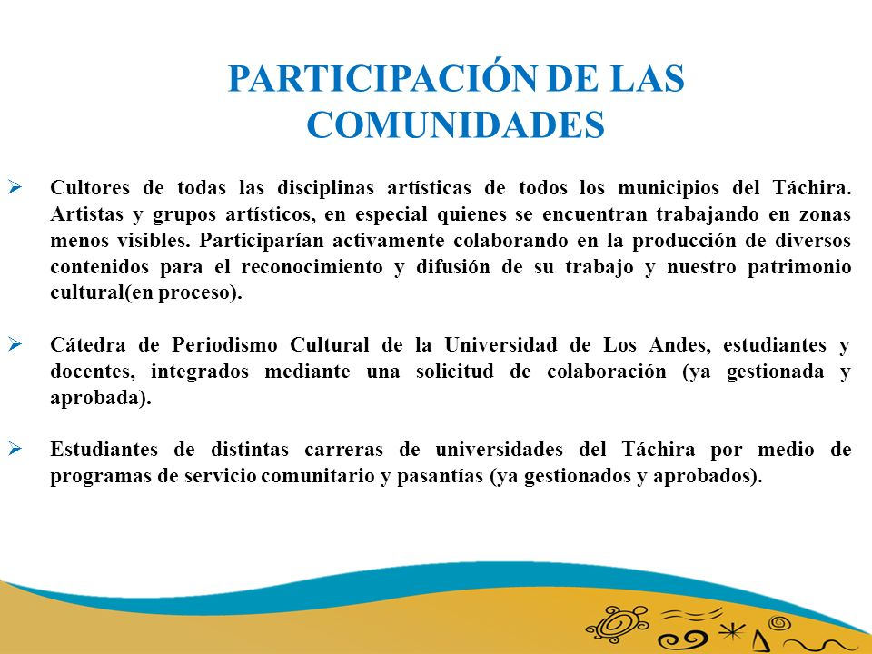 PARTICIPACIÓN DE LAS COMUNIDADES