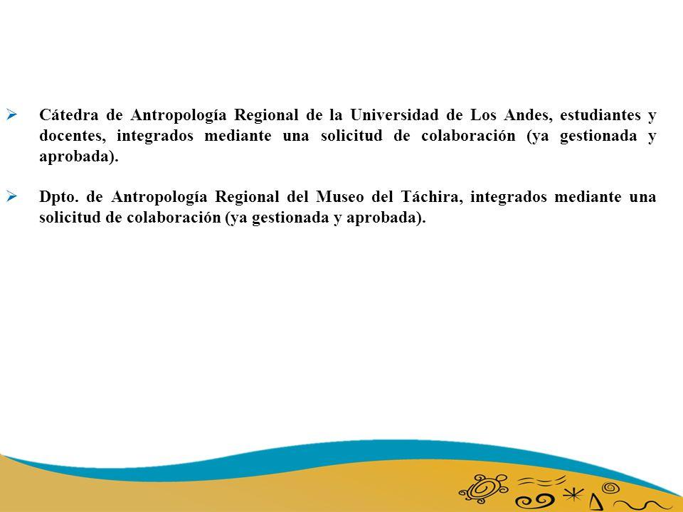 Cátedra de Antropología Regional de la Universidad de Los Andes, estudiantes y docentes, integrados mediante una solicitud de colaboración (ya gestionada y aprobada).