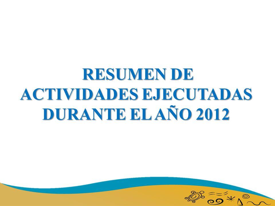 RESUMEN DE ACTIVIDADES EJECUTADAS DURANTE EL AÑO 2012
