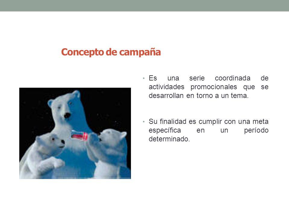 Concepto de campaña Es una serie coordinada de actividades promocionales que se desarrollan en torno a un tema.