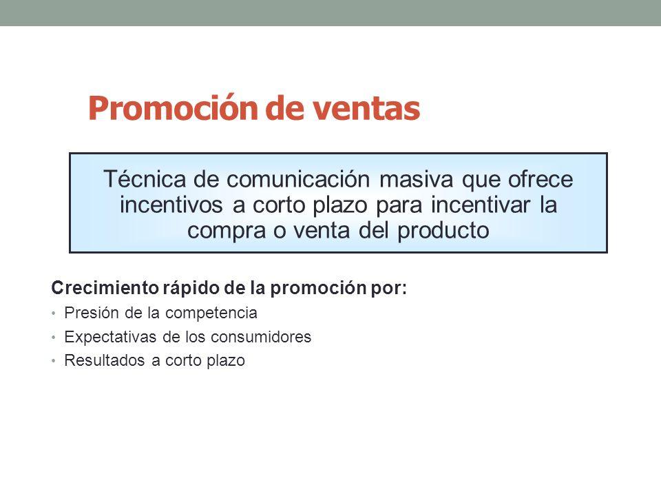 Promoción de ventas Técnica de comunicación masiva que ofrece incentivos a corto plazo para incentivar la compra o venta del producto.