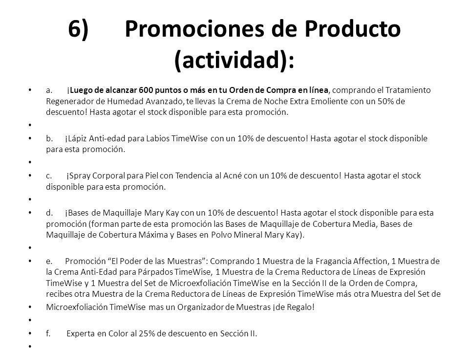 6) Promociones de Producto (actividad):