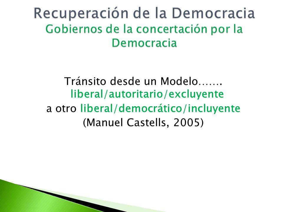 Recuperación de la Democracia Gobiernos de la concertación por la Democracia