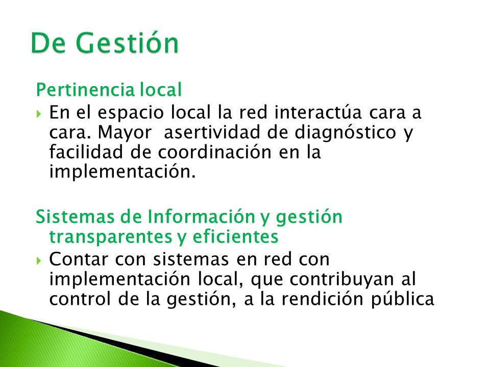 De Gestión Pertinencia local