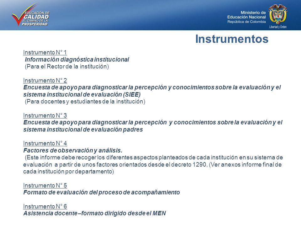 Instrumentos Instrumento N° 1 Información diagnóstica institucional