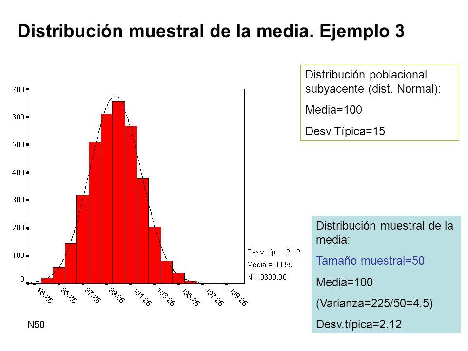 Distribución muestral de la media. Ejemplo 3