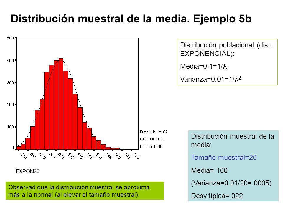 Distribución muestral de la media. Ejemplo 5b