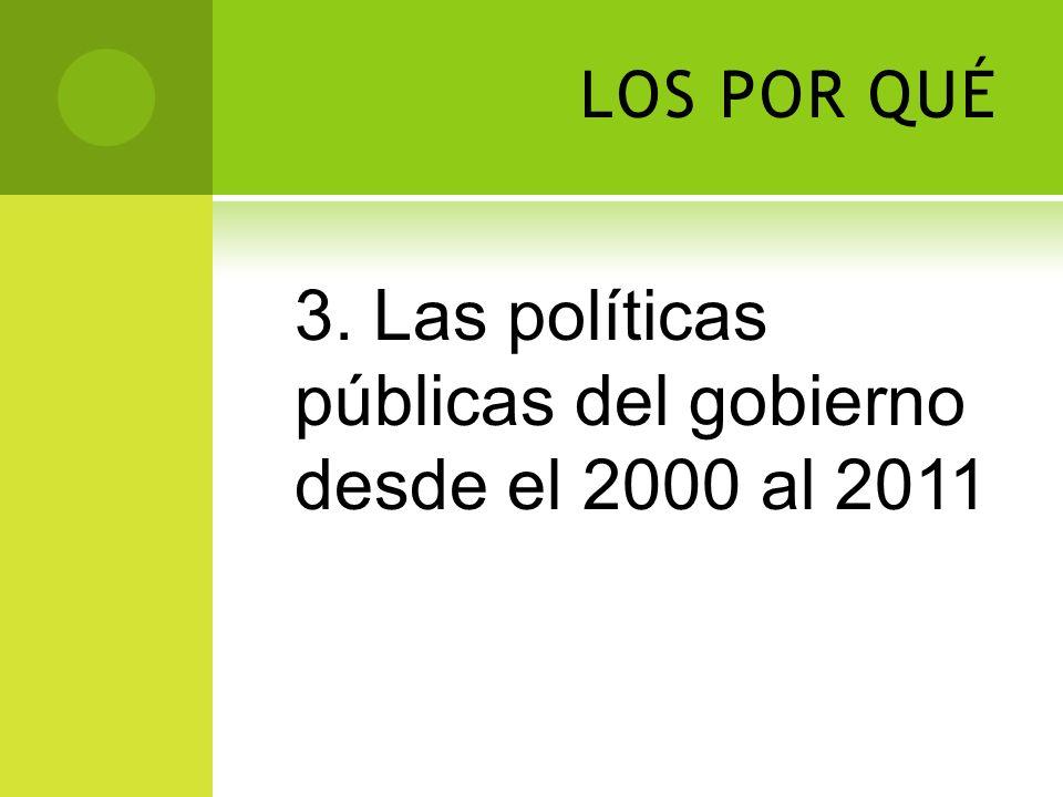 3. Las políticas públicas del gobierno desde el 2000 al 2011