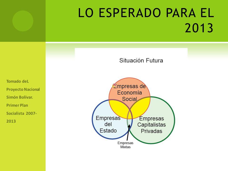 LO ESPERADO PARA EL 2013 Tomado deL Proyecto Nacional Simón Bolívar.