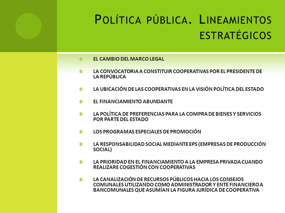 Política pública. Lineamientos estratégicos
