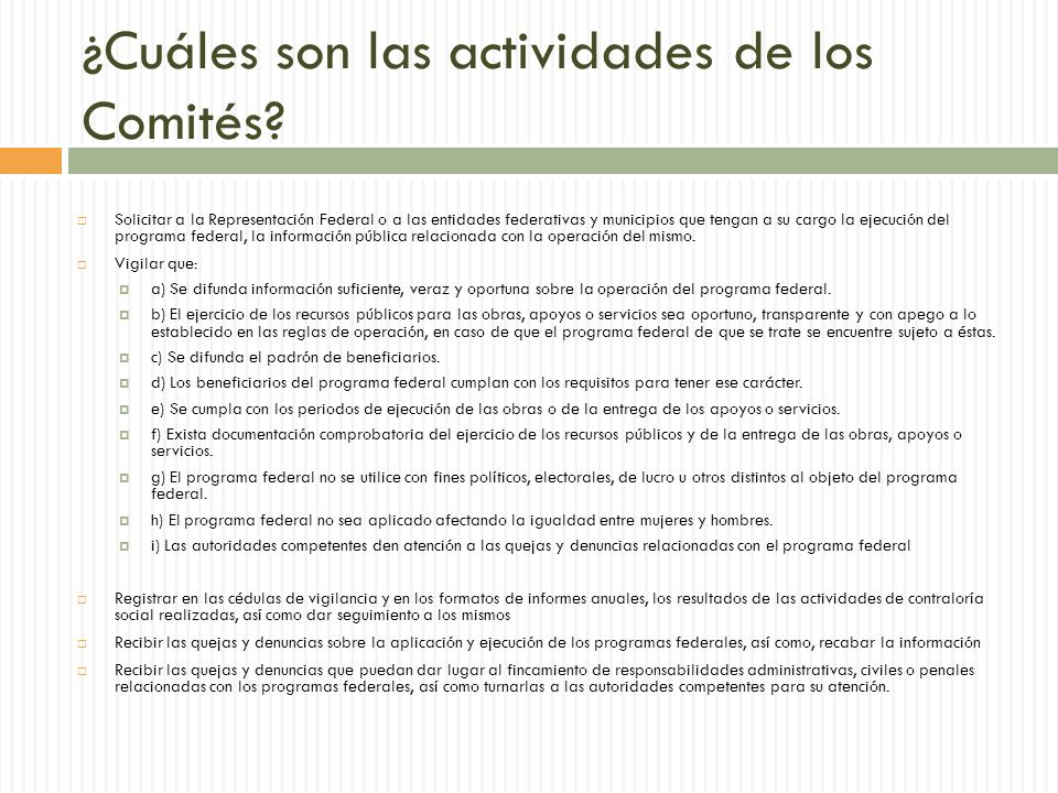 ¿Cuáles son las actividades de los Comités