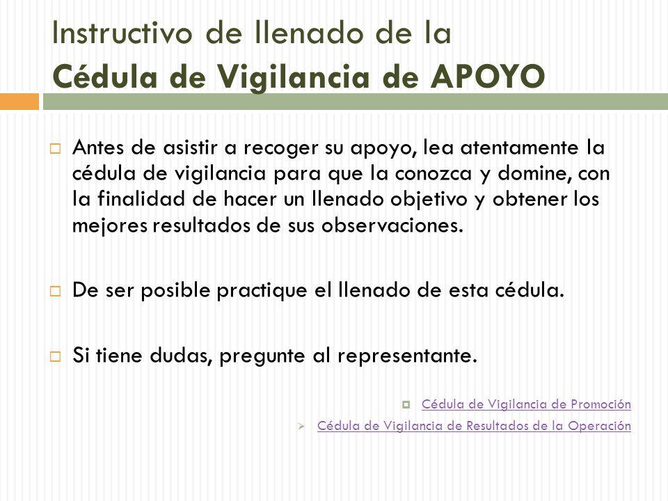 Instructivo de llenado de la Cédula de Vigilancia de APOYO