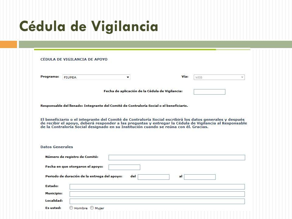 Cédula de Vigilancia Lista de vocabulario relacionada.