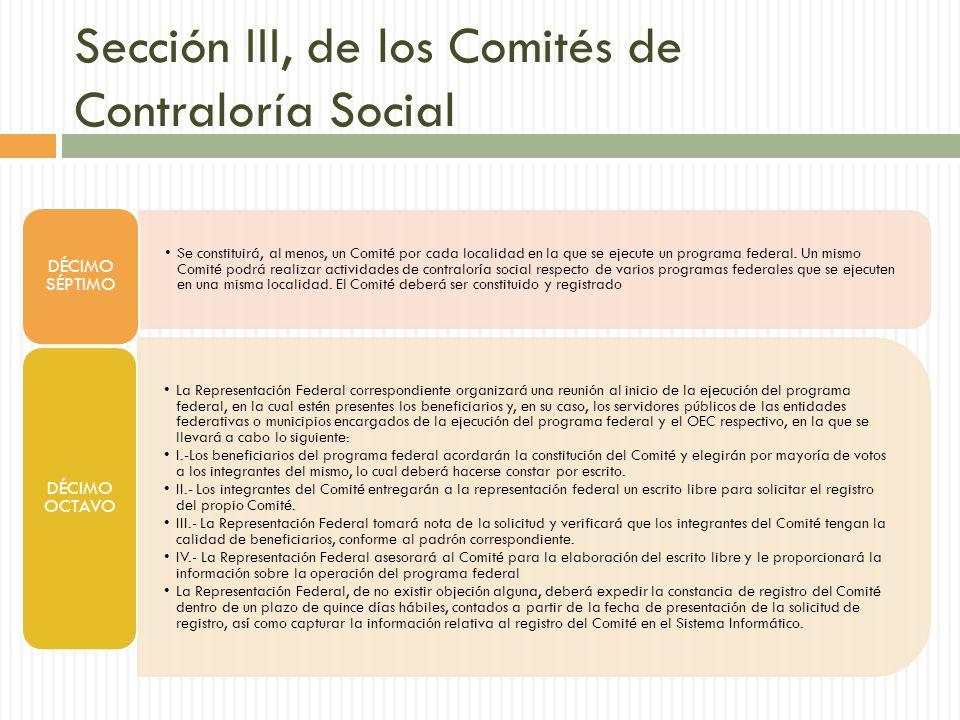 Sección III, de los Comités de Contraloría Social