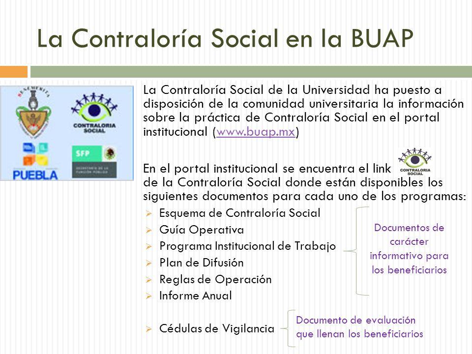 La Contraloría Social en la BUAP