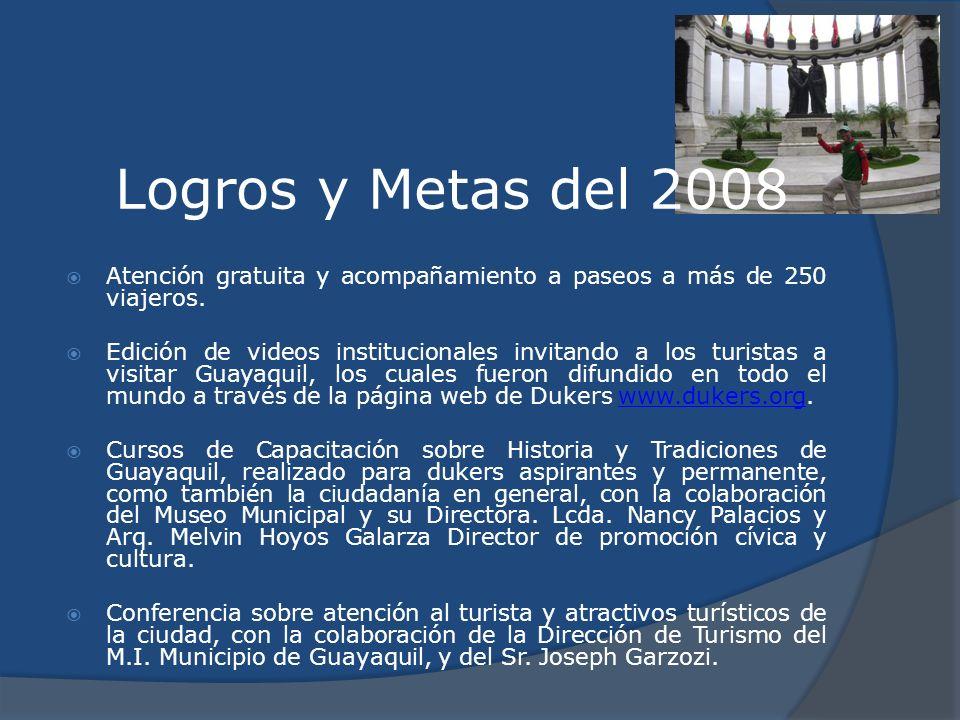 Logros y Metas del 2008 Atención gratuita y acompañamiento a paseos a más de 250 viajeros.