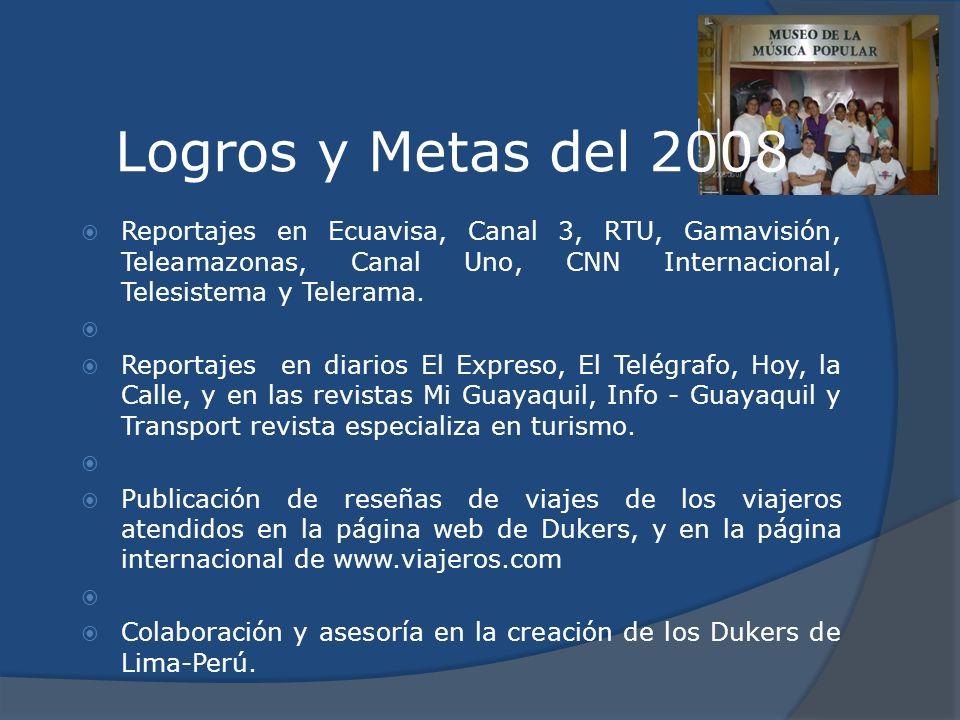 Logros y Metas del 2008 Reportajes en Ecuavisa, Canal 3, RTU, Gamavisión, Teleamazonas, Canal Uno, CNN Internacional, Telesistema y Telerama.