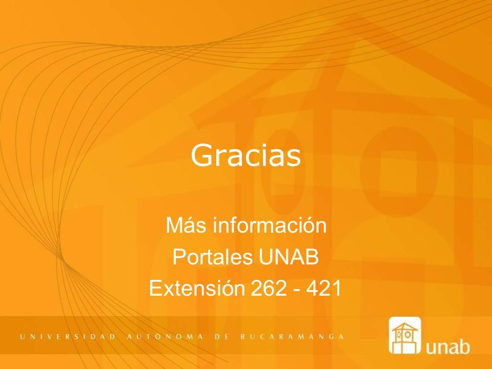 Más información Portales UNAB Extensión 262 - 421