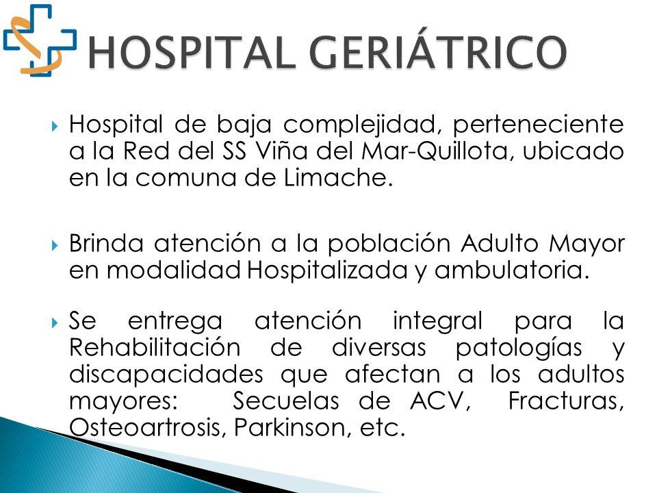HOSPITAL GERIÁTRICOHospital de baja complejidad, perteneciente a la Red del SS Viña del Mar-Quillota, ubicado en la comuna de Limache.