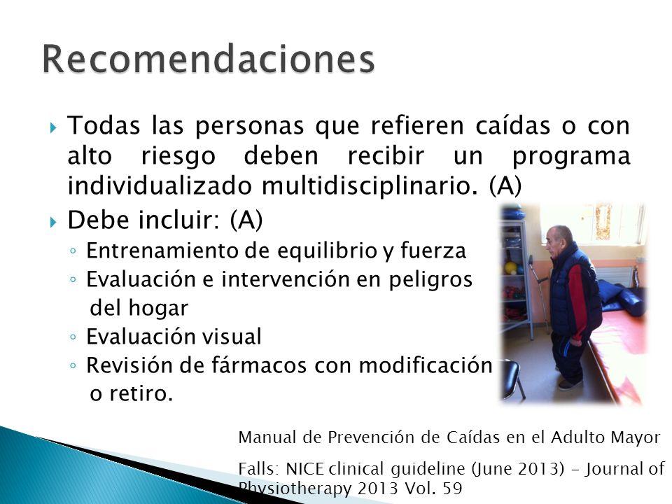 RecomendacionesTodas las personas que refieren caídas o con alto riesgo deben recibir un programa individualizado multidisciplinario. (A)