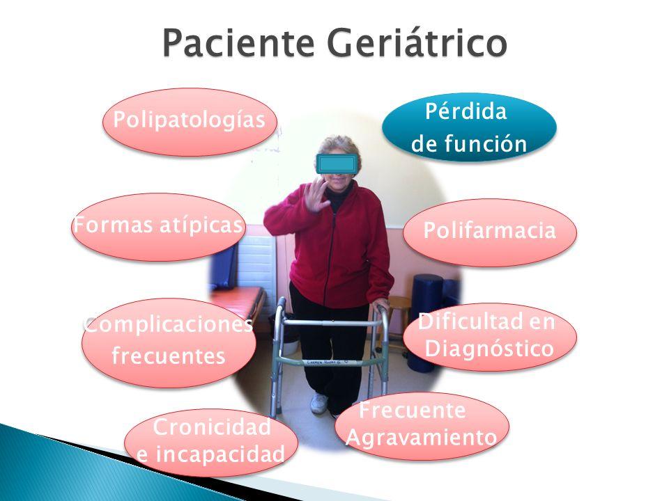 Paciente Geriátrico Pérdida Polipatologías de función Formas atípicas