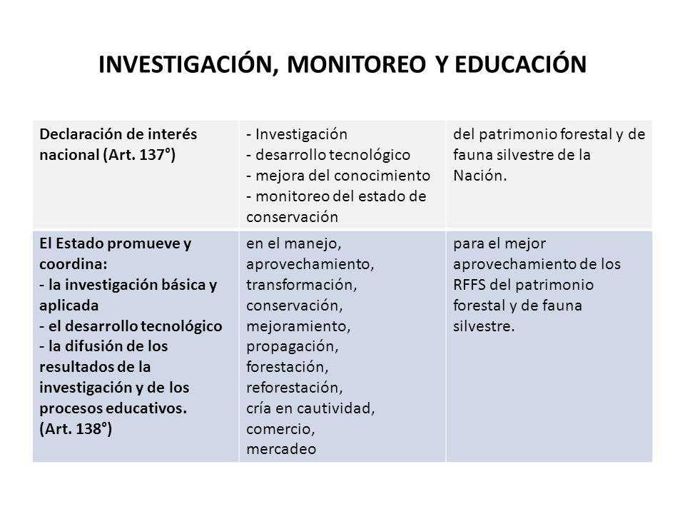 INVESTIGACIÓN, MONITOREO Y EDUCACIÓN