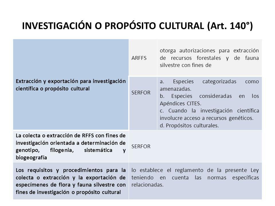 INVESTIGACIÓN O PROPÓSITO CULTURAL (Art. 140°)
